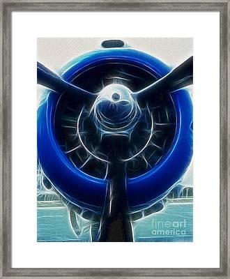 Plane Blue Prop Framed Print by Paul Ward