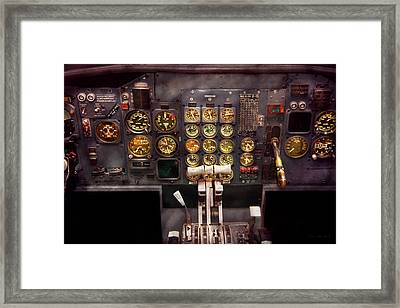 Plane - Cockpit - Boeing 727 - The Controls Are Set Framed Print by Mike Savad