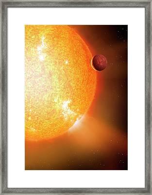 Planet And Parent Star Framed Print by Detlev Van Ravenswaay