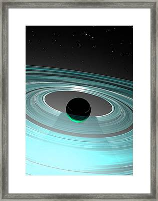 Planet And Rings Framed Print by Victor Habbick Visions