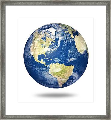Planet Earth On White - America Framed Print by Johan Swanepoel