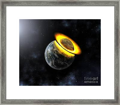 Planet Hitting The Earth, Artwork Framed Print by Mikkel Juul Jensen