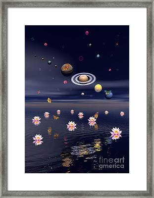 Planets Of The Solar System Surrounded Framed Print by Elena Duvernay