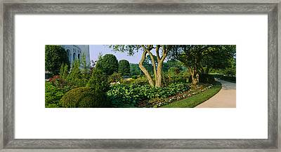Plants In A Garden, Bahai Temple Framed Print by Panoramic Images