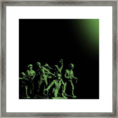Plastic Army Man Battalion Black And Green Framed Print by Tony Rubino