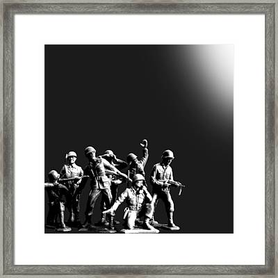 Plastic Army Man Battalion Black And White Framed Print by Tony Rubino