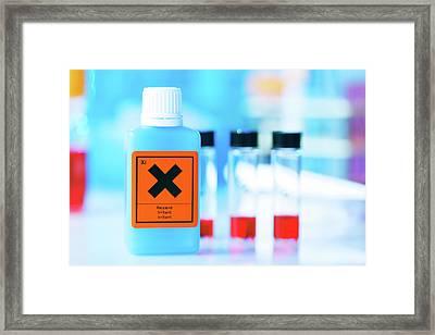 Plastic Bottle With Warning Sign Framed Print by Wladimir Bulgar