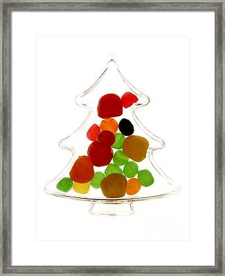 Plastic Christmas Tree Containing Sweet Framed Print by Bernard Jaubert