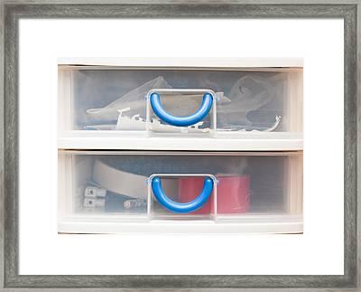 Plastic Drawers Framed Print by Tom Gowanlock