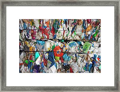 Plastic Packaging At A Recycling Centre Framed Print by Peter Menzel