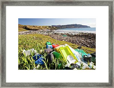 Plastic Rubbish At The Singing Sands Framed Print by Ashley Cooper