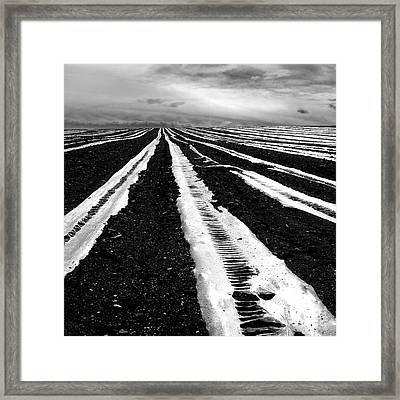 Plastic Tarp In A Field. Auvergne. France Framed Print by Bernard Jaubert