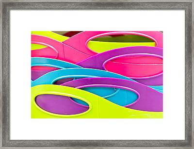 Plastic Tubs Framed Print by Tom Gowanlock