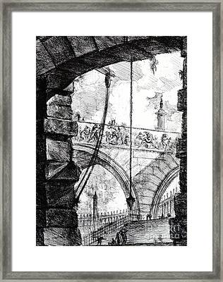 Plate 4 From The Carceri Series Framed Print by Giovanni Battista Piranesi