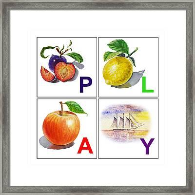 Play Art Alphabet For Kids Room Framed Print by Irina Sztukowski