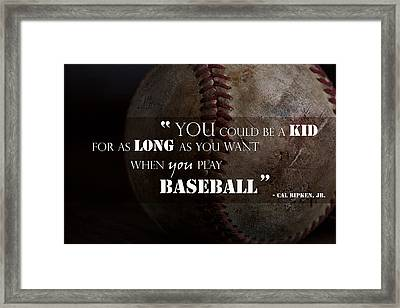 Play Baseball Framed Print by Eugene Campbell