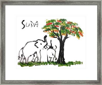 Prints - Elephant Paintings - Play Time Flames  Framed Print by Phongsri Smeaton