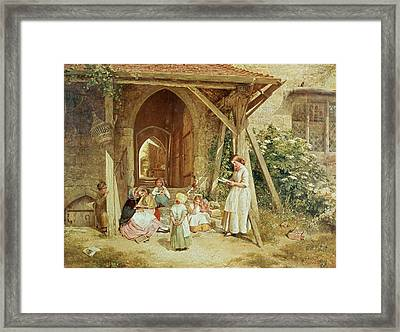 Playing At Schools Framed Print by Charles James Lewis