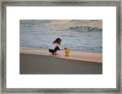 Playing In The Ocean Framed Print by Cynthia Guinn
