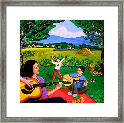 Playing Melodies Under The Shade Of Trees Framed Print by Cyril Maza