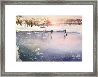 Playing On Ice Framed Print by Yoshiko Mishina