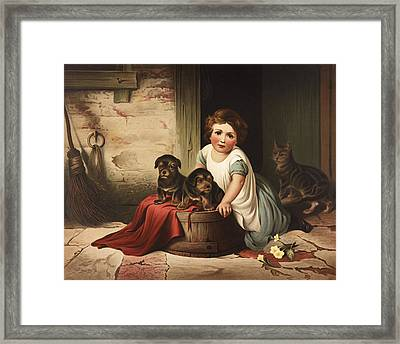 Playing With Friends Circa 1850 Framed Print by Aged Pixel