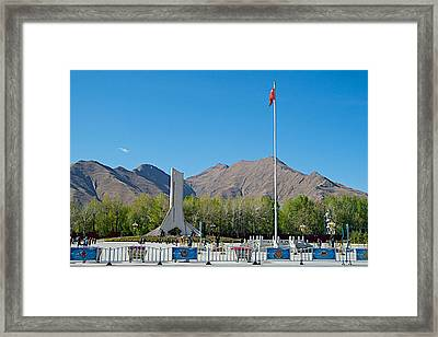 Plaza Across From Potala Palace Which Replaced A Natural Lake-tibet Framed Print by Ruth Hager