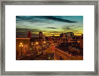 Plaza Lights At Sunset Framed Print by Steven Bateson