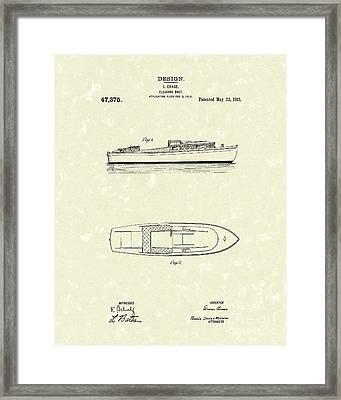 Pleasure Boat 1915 Patent Art Framed Print by Prior Art Design