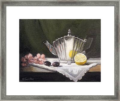 Pleated Teapot With Lemon Framed Print by Sarah Parks