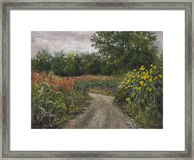 Plein Air - Corn Field Framed Print by Lucie Bilodeau