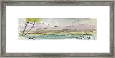 Plein Air Sketchbook. Oxnard California 2011. South Hills Beyond The Harbor  Framed Print by Cathy Peterson
