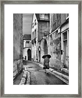 Pluie A Chartres #2 - Black And White Framed Print by Nikolyn McDonald