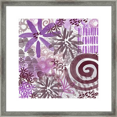 Plum And Grey Garden- Abstract Flower Painting Framed Print by Linda Woods