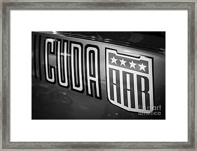 Plymouth Cuda Aar Decal Framed Print by Paul Velgos