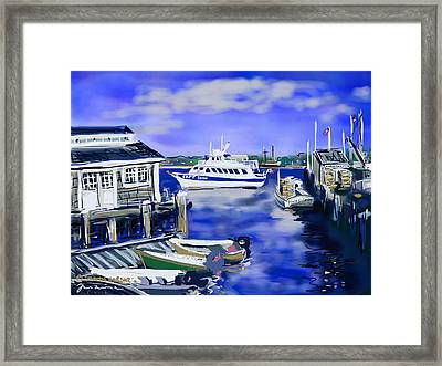 Plymouth Harbor Framed Print by Jean Pacheco Ravinski