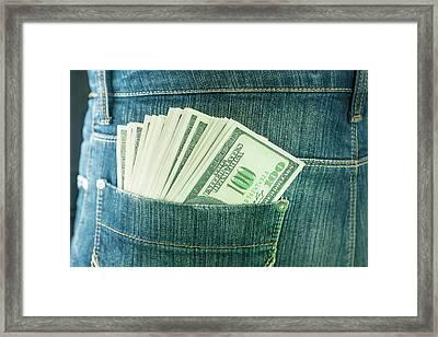 Pocket Containing 100 Us Dollar Banknotes Framed Print by Ktsdesign