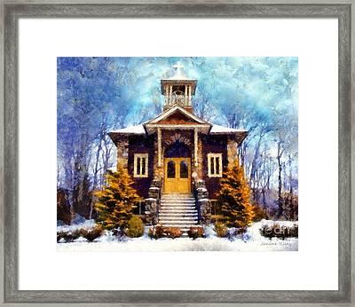 Poconos Country Church Framed Print by Janine Riley