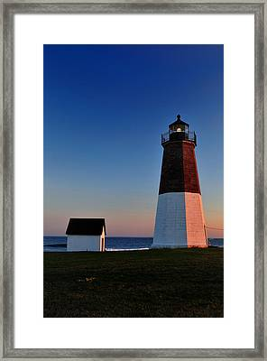 Point Judith- Sidelit At Sunset Framed Print by Thomas Schoeller