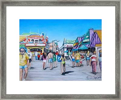 Point Pleasant Beach Boardwalk Framed Print by Melinda Saminski