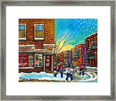 Pointe St. Charles Hockey Game At The Depanneur Montreal City Scenes Framed Print by Carole Spandau