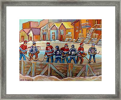 Pointe St. Charles Hockey Rinks Near Row Houses Montreal Winter City Scenes Framed Print by Carole Spandau