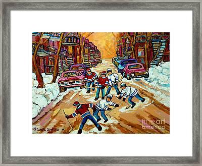 Pointe St.charles Hockey Game Winter Street Scenes Paintings Framed Print by Carole Spandau