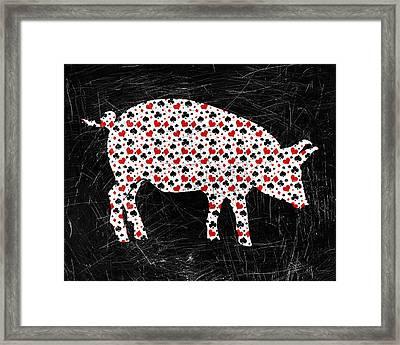 Poker Pig Framed Print by Flo Karp