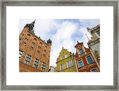 Poland, Gdansk Town Hall And Rooflines Framed Print by Jaynes Gallery