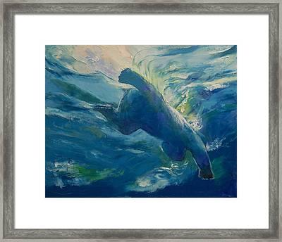 Polar Bear Swim Framed Print by Michael Creese
