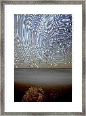 Polar Star Trails Over Coastal Waters Framed Print by Luis Argerich