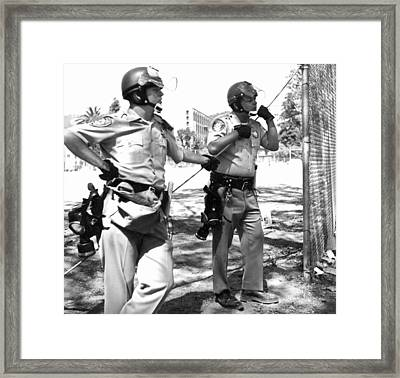Police At People's Park Framed Print by Underwood Archives Grierson