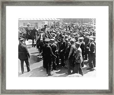 Police Confront Sf Strikers Framed Print by Underwood Archives