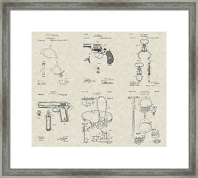 Police Detective Equipment Patent Collection Framed Print by PatentsAsArt